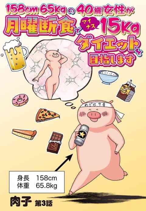 158cm65kgの40歳女性が月曜断食でマイナス15kgダイエットを目指します【単話売】